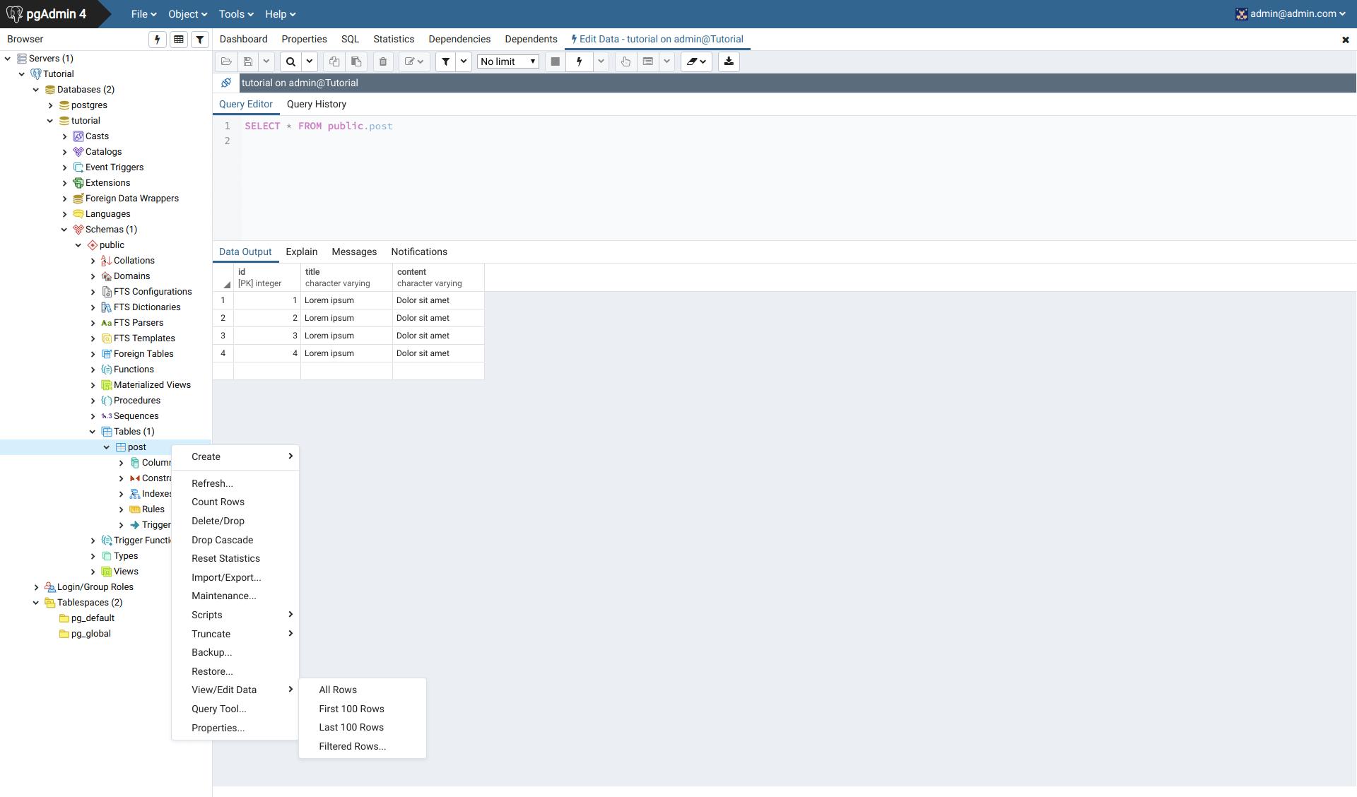 Relational databases, Express Postgres  TypeScript Express #7
