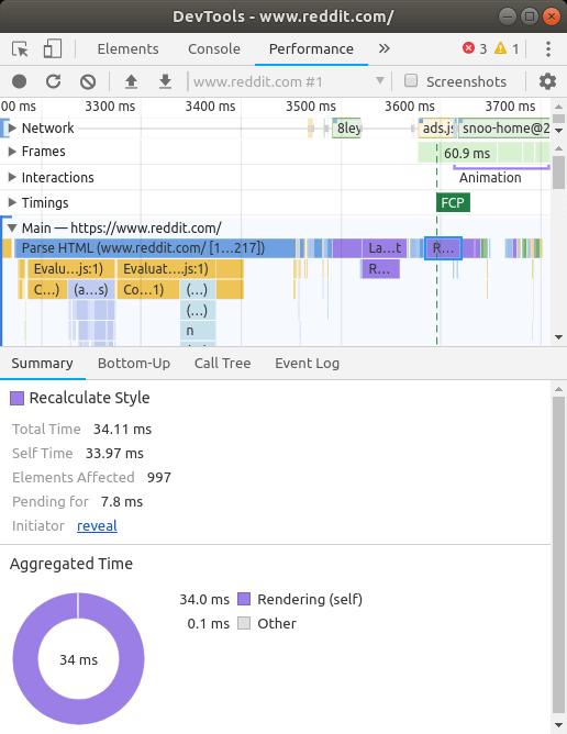 Browser reflow DevTools