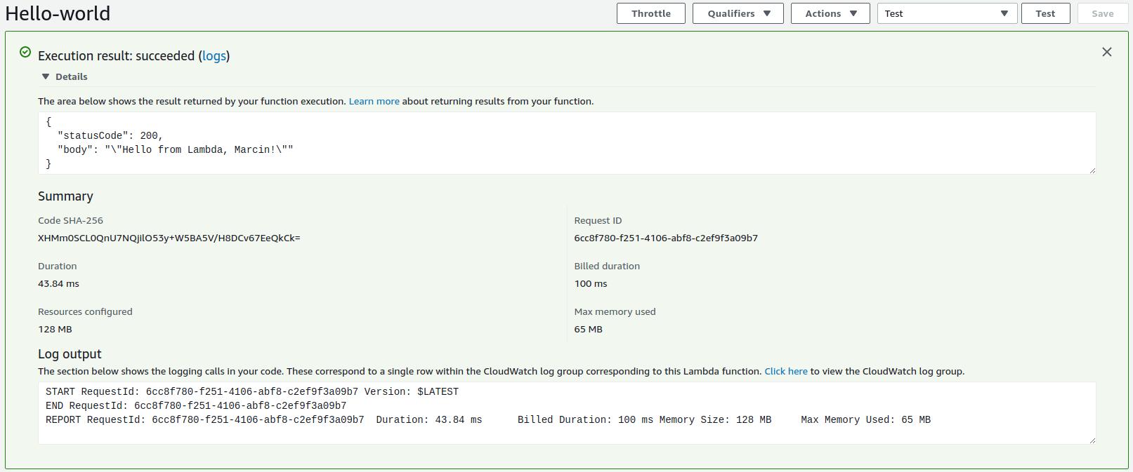 AWS Lambda execution result