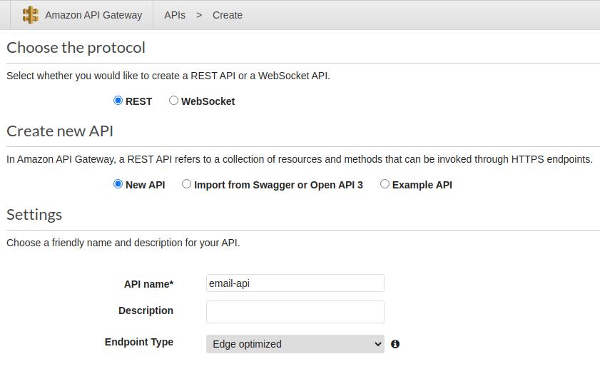 Amazon API Gateway REST API creation