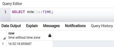 PostgreSQL select now