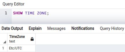 PostgreSQL show time zone